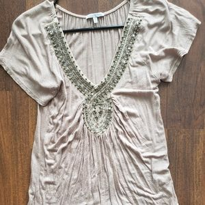 Tan fitted shirt with beads
